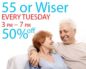 Senior Appreciation Night EVERY TUESDAY 3 pm to 7pm Seniors 50% off