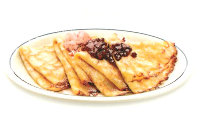 Swedish Crepes Crepas Suecas Four delicate crepes topped with sweet-tart lingonberries & lingonberry butter. 6.99 860 calories