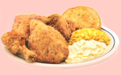 Fried Chicken Cena de Polo Frito Four pieces of fried chicken. Served with mashed potatoes, buttered corn & garlic bread. 11.49 1500 calories