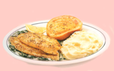 Tilapia Florentine Tilapia a la Florentina Two fillets over fresh spinach tossed in Alfredo sauce. Served with mashed potatoes & garlic bread. 10.29 940 caloriesTilapia Florentine Tilapia a la Florentina Two fillets over fresh spinach tossed in Alfredo sauce. Served with mashed potatoes & garlic bread. 10.29 940 calories