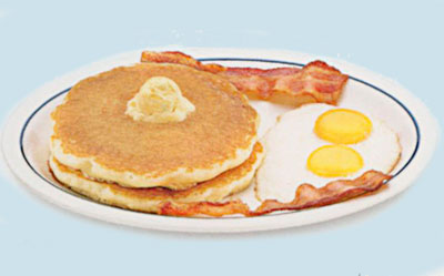 2 x 2 x 2Two eggs. 2 bacon strips or 2 pork sausage links & 2 buttermilk pancakes. 6.99680-740 calories