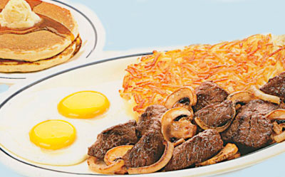 Sirloin Tips & Eggs Puntas de Bistec Sirloin y Huevos USDA Select sirloin tips cooked with grilled onions & mushrooms. Served with 2 eggs, hash browns & 2 buttermilk pancakes.11.991330 Calories