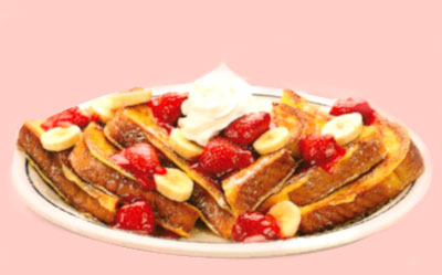 Strawberry Banana French Toast Pan Francés con Fresas y Plátanos Our original French toast topped with glazed strawberries & fresh banana slices. 7.99 880 calories