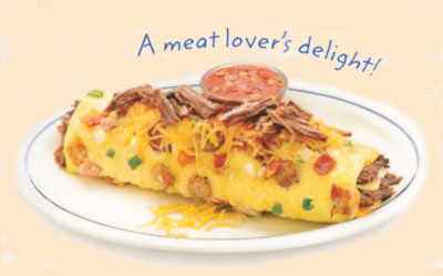 Colorado OmeletteOmelette ColoradoA meat lover's delight!Bacon, pork sausage, shredded beef & ham with fresh green peppers, onions & Cheddar cheese. Served with our salsa.10.991190 calories