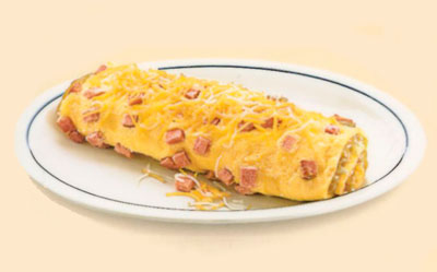 Hearty Ham & Cheese OmeletteOmelette de Jamón y QuesoStuffed with ham, Jack & Cheddar cheeses & a cheese sauce.9.791040 calories