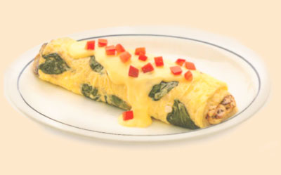 Spinach & Mushroom OmeletteOmelette de Espinacas y ChampiñonesFresh spinach, mushrooms, onions & Swiss chese topped with hollandaise & tomatoes.9.99980 calories