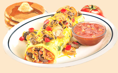 Big Steak OmeletteOmelette de BistecSteak, Cheddar cheese & hash browns with greenpeppers, onions, mushrooms & tomatoes. Served with our salsa.11.991260 calories