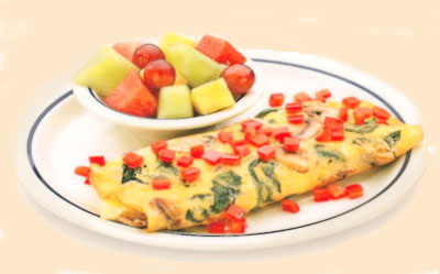 Simple & Fit Vegetable OmeletteSimple & Fit Omelette de VegetalesEgg substitute with fresh spinach, mushrooms, onions & Swiss cheese topped with tomatoes. Served with seasonal mixed fruit.9.69320 calories