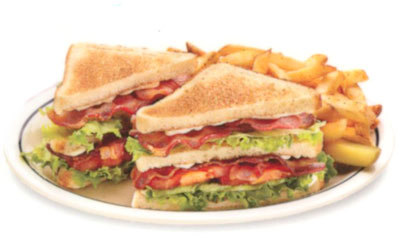 Double BLT Sándwich Doble de Tocino Double-decker with 6 strips of bacon, lettuce, tomato & mayonnaise on white toast. 7.99 690 calories