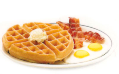 Create Your Own Belgian Waffle Combo Crea tu Propio Combo de Waffle BelgaTraditional Belgian Waffle - 8.49Belgian waffle + 2 eggs + 2 bacon strips or sausage linksCream-topped Waffle Flavors - 8.99850-1170 calories