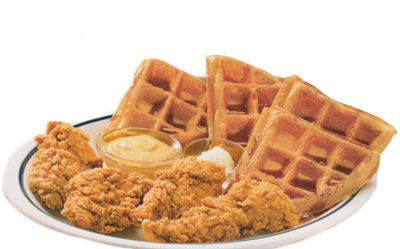 Chicken & Waffles Pollo y Waffles Four all white meat crispy chicken strips with a Belgian waffle. Served with honey mustard dipping sauce.8.99 1130 Calories